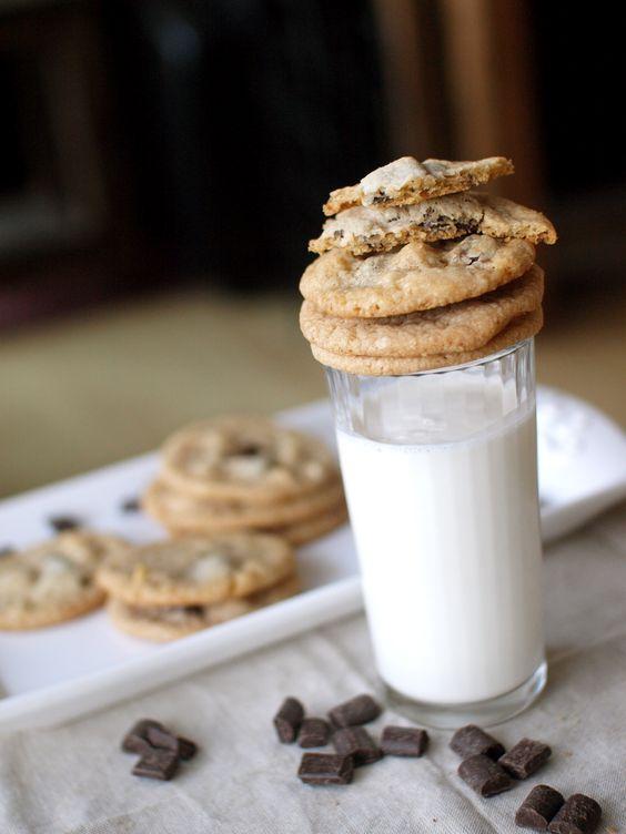 double chocolate macadamia nut cookies milk