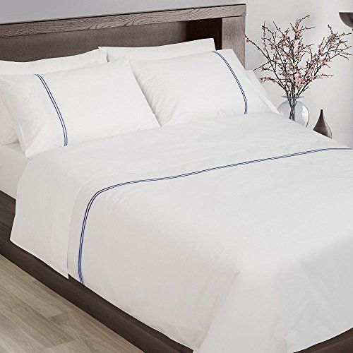 Tony S Textiles Hotel Collection 200tc 100 Cotton White Duvet Cover Set With Navy Cord Stitch Uk Double White Duvet Covers Duvet Cover Sets Hotel Collection