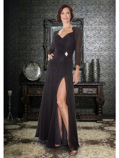 A-Line Spaghetti Straps Floor-Length Chiffon Mother Of The Bride Dress