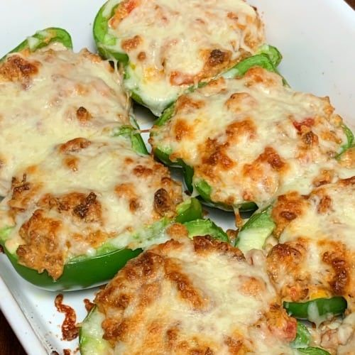 Sausage Cream Cheese Stuffed Bell Pepper Keto Plowing Through Life In 2020 Stuffed Peppers Stuffed Green Peppers Peppers Recipes