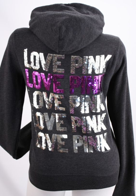 Detalhes sobre Victoria's Secret Love PINK Sequin Bling Zip Hoodie ...