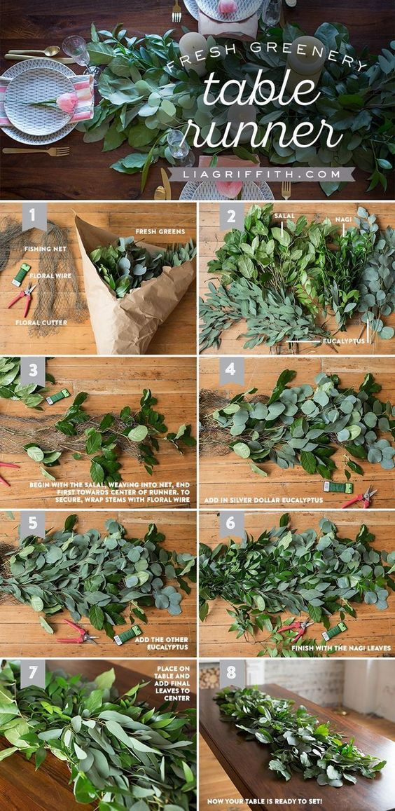 DIY How to make a Fresh Greenery Table Runner - perfect for your wedding table & for an summer/outdoor/greenery wedding! #greenerywedding #diywedding