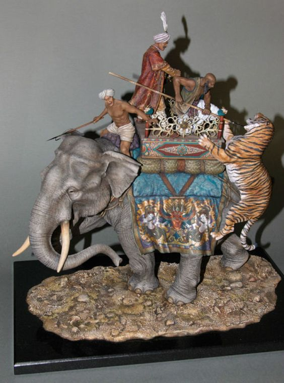Indian Tiger Hunting; Russian Vityaz toy soldier collection.