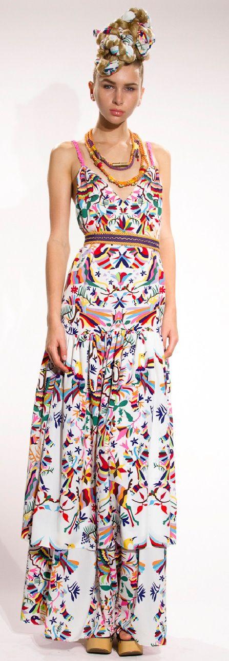 Model Mexico Ethnic Flower EMBROIDERY BOHO Mini Dresses Hippie Women Dress