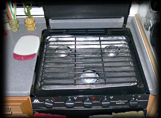 One Pinner's RV stove-top tip - At the Dollar Store buy a set of heavy foil oven liners. It takes a bit of time to get the burner holes right.  The easiest way to do the holes was to place the liner on the stove and mark the center of the burner. Then punch a hole in the center and work out with a sort of star pattern, folding the foil under till the fit is to your liking. Replace when needed.