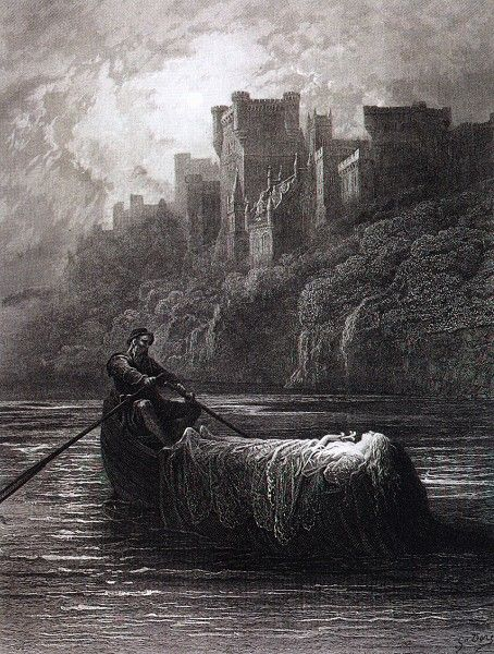 """The Body of Elaine on Its Way to King Arthur's Palace"" by Gustave Dore, 1882-83"