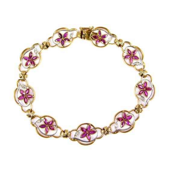 - Antique gold, ruby and diamond openwork bracelet, French c.1895,