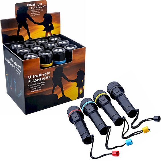 @ShopAndThinkBig.com - Each flashlight is encased in a water resistant rubberized case. There is a colored ring with matching wrist strap decoration. Each 12pc bulk box of discount flashlights contains 3 red, 3 blue, 3 yellow and 3 black accented flashlights. These flashlights measure 5-1/2 long and each use 2 AA batteries (not included). http://www.shopandthinkbig.com/12pc-discount-flashlights-p-539.html