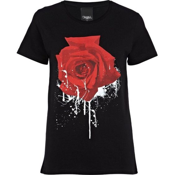 River Island Black To The Black Rose Print T-Shirt ($16) ❤ liked on Polyvore