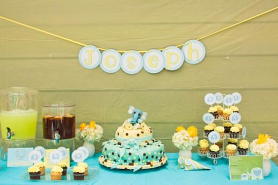 blue and yellow baby shower