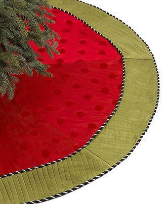 Jabara Christmas Tree Skirt, Pleats and Polka Dots - Stockings