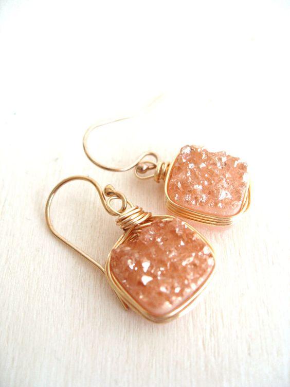 Gold Druzy earrings Druzy dangles Druzy jewelry peach by Vitrine