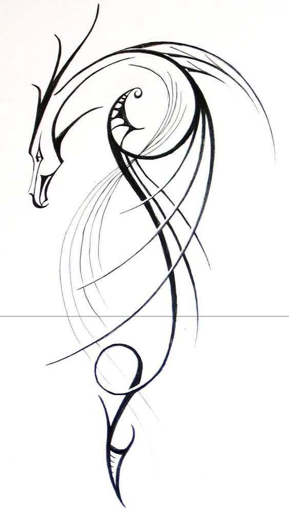 Simple Tribal Dragon Tattoo Design | Tribal Tattoos ...