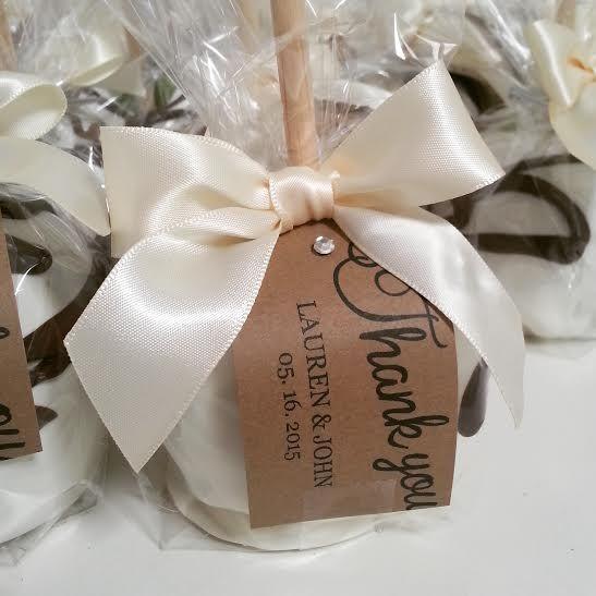 caramel apple favors thank you tags wedding favors