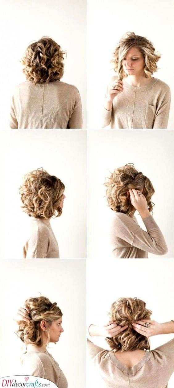 An Easy Updo Hairstyles For Curly Short Hair Short Hair Updo Curly Hair Styles Hair Styles