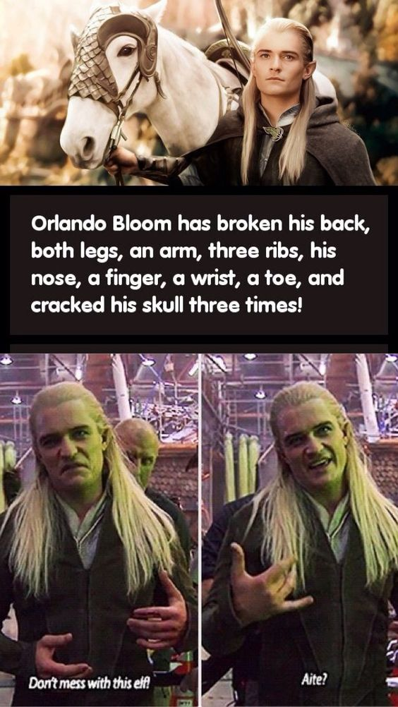 """OMG !!!!!!!!  Don't mess with this Elf."""" I don't know if all of this is true, but the rib one is. ~ Samantha Morton /// Funny / The Hobbit / Lord of the Rings / Pirates of the Caribbean / Orlando Bloom (I really don't know other movies he was in or I would add them to the description.)"""