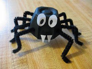 Adorable egg carton spider craft.