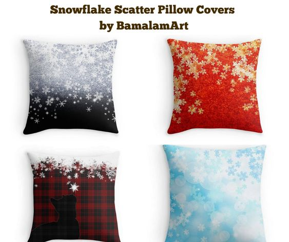 Snowflake Scatter Pillow Covers by BamalamArt