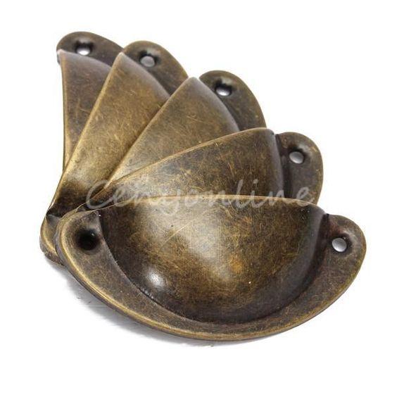 D tails sur 1 12pcs poign e coquille pour tiroir en fer for Poignee de porte meuble cuisine