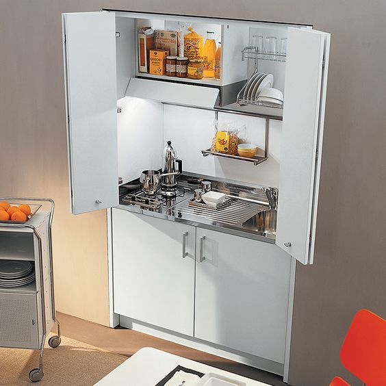 discrete kitchenette that would look great in a cottage, cabin, tiny house or micro home; just close up the cupboard to tuck it away out of sight.