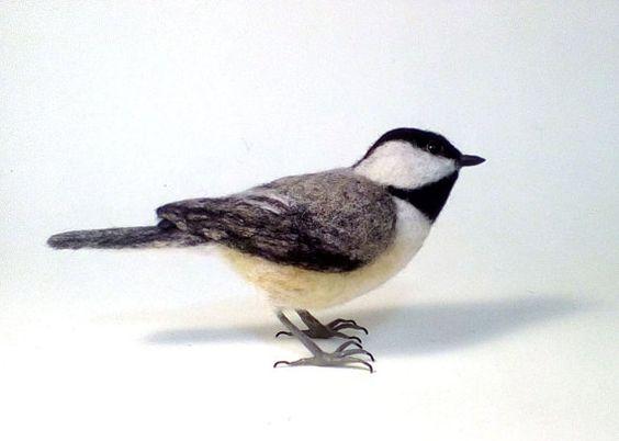 Schwarz-capped Chickadee Nadel Felted Vogel von Flightofheart