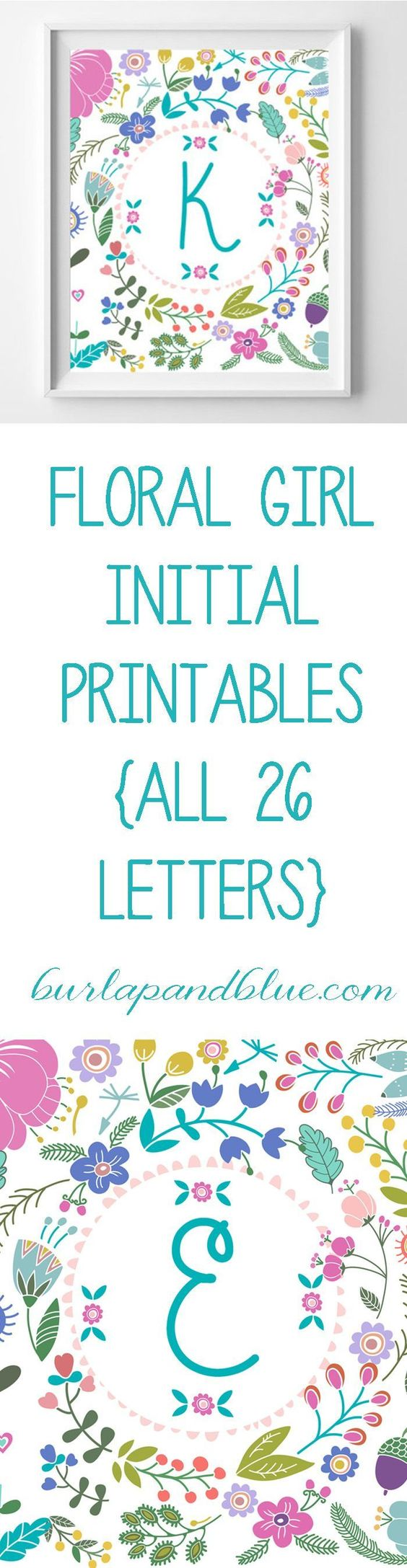 Beautiful floral initials for a little girl's nursery or bedroom - free printables!