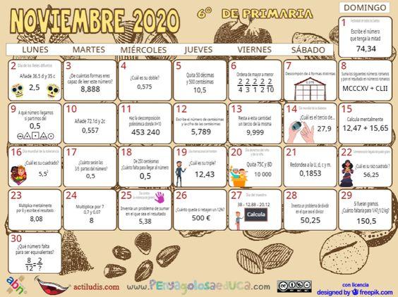 Calendario Sexto ABN – Noviembre 2020