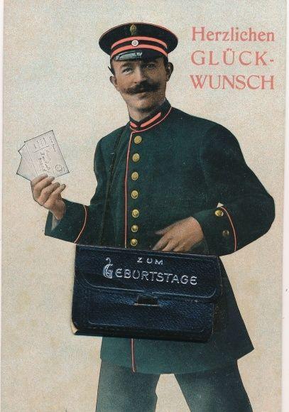 postkarte glückwunsch geburtstag, postbote mit glückwunschkarten