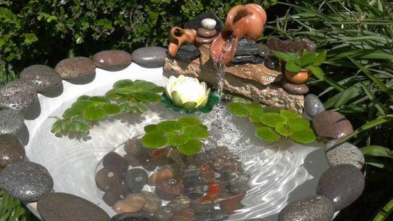 Fuentes y cascadas para los estanques de jard n fuentes - Estanques para jardines ...