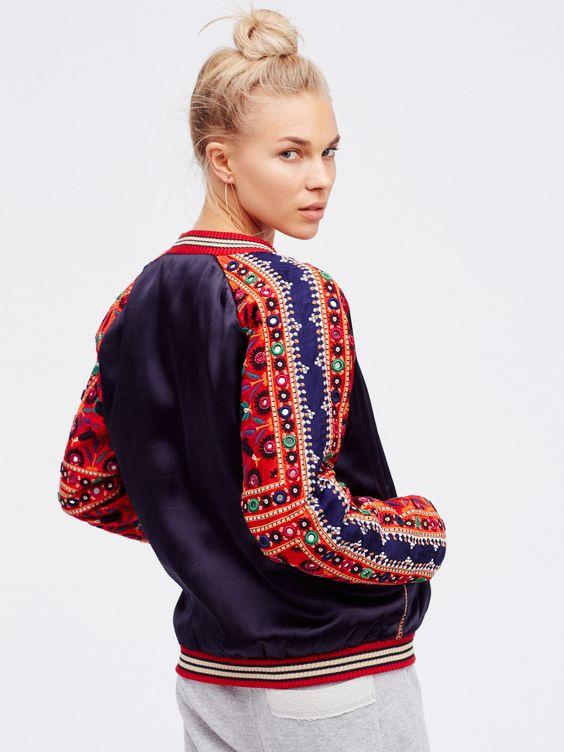 New Romantics Embellished Baseball Jacket   Silky baseball jacket with…
