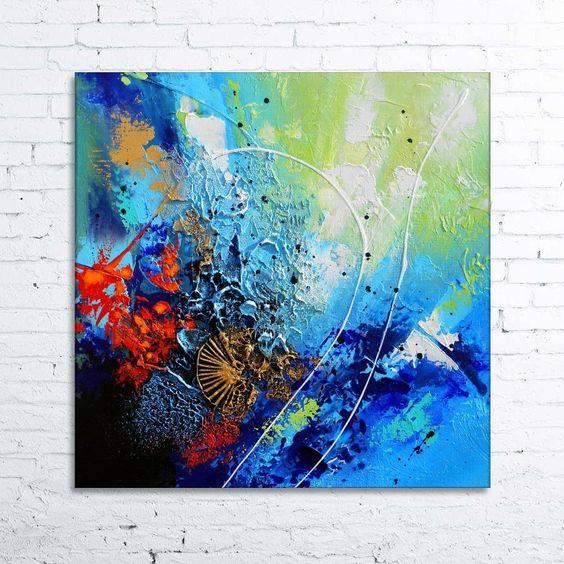 Meropa tableau abstrait moderne contemporain peinture for Peinture bleu turquoise