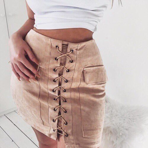 Laced up mini skirt: