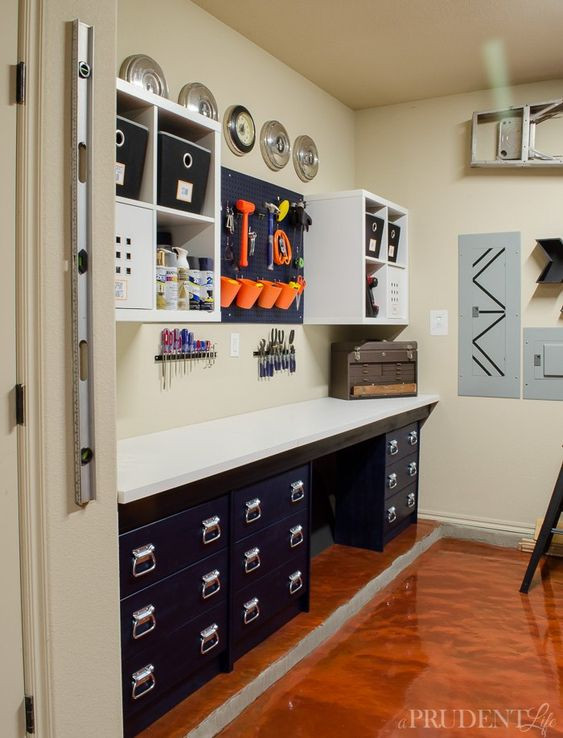 Diy garage workbench ikea hack office pinterest for Ikea garage organization