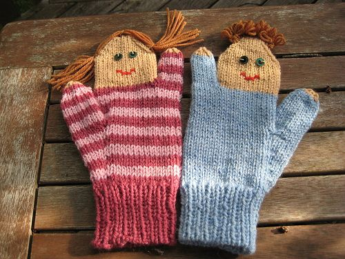 Puppets, Mittens and Knitted gloves on Pinterest