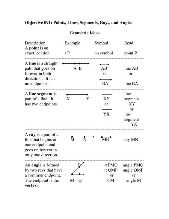 Printables Beginning Geometry Worksheets definitions note and geometry on pinterest points lines planes worksheet objective segments rays angles