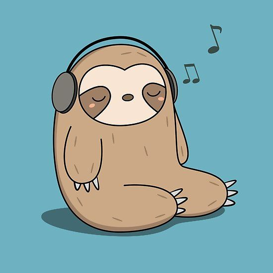 Kawaii Cute Sloth Listening To Music Poster By Wordsberry In 2021 Cute Cartoon Wallpapers Cute Sloth Pictures Cute Animal Drawings