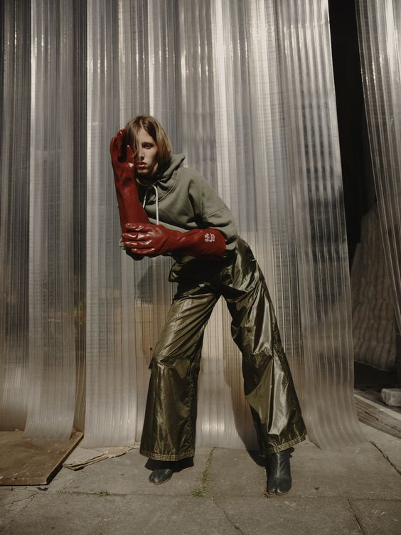 """""""Something I Couldn't Find"""" - Teeth Online x Teeth Magazine  Photographer: Stephen Maycock Styling: Yi Ng Model: Mary at Wilhelmina Styling Assistant: Lucia Dunlap  Top and Trousers Janis Kutils, Gloves Stylist's Archive, Boots Maison Margiela"""