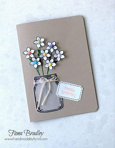 Happy Birthday Jar Of Love Brights Enamels Stampin Up Fiona Bradley Handmade Birthday Cards Birthday Card Craft Mason Jar Cards