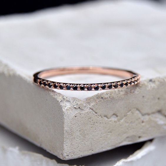 Eternity Ring - Rose Gold with Black Stones