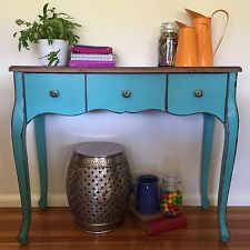 98cm Teal Console/3 Drawer Hall Table/Desk/Stand/French Provincial