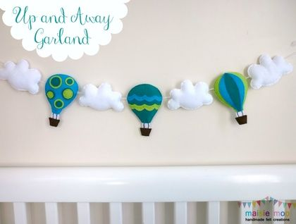 Hot Air Balloon Garland - Bunting - Banner - Aqua, Lime and Teal - Moveable