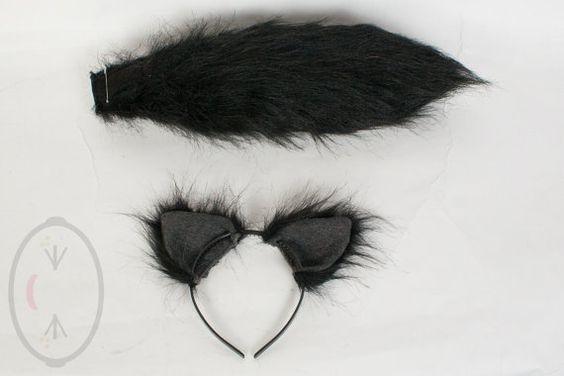 """PICCOLO gatto nero, lupo orecchio peloso e/o 16"""" coda Set Cosplay, accessori, costumi - per bambini o adulti"""