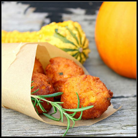 Pumpkin Fritters with rosemary and cheese