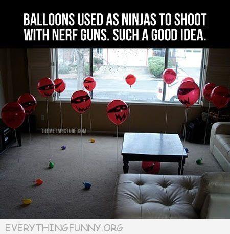 funny caption ninja balloons for nerf guns