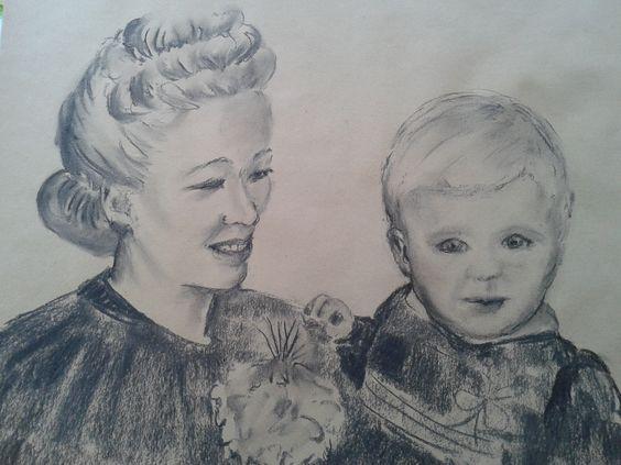 jaren 40 tekening met houtskool