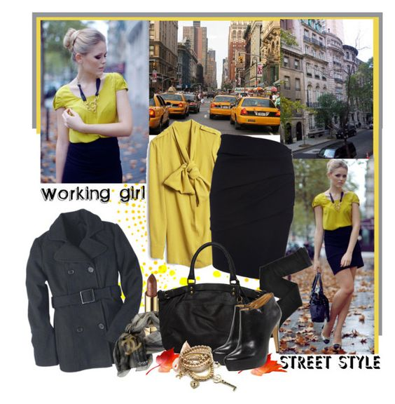"""""""Street Style: For The Professional Working Girl"""" by teah507 ❤ liked on Polyvore featuring TAXI, Brownstone, Lanvin, Fogal, Dolce&Gabbana, Chanel, Vanessa Bruno, Nine West and LARA"""