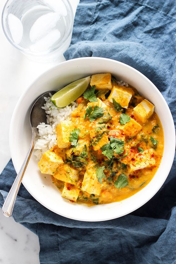 dishes in Saigon vegetarian restaurants: Tofu curry rice