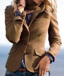 H & m classic herringbone/tweed blazer with elbow patches~beige/brown~ uk 18/20