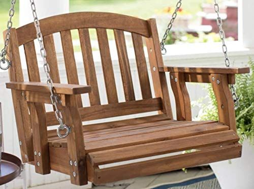Best Seller Outdoor Wood Single Person Porch Swing Patio Garden Furniture Online Greattopfurniture Porch Swing Outdoor Porch Furniture Porch Swing With Stand