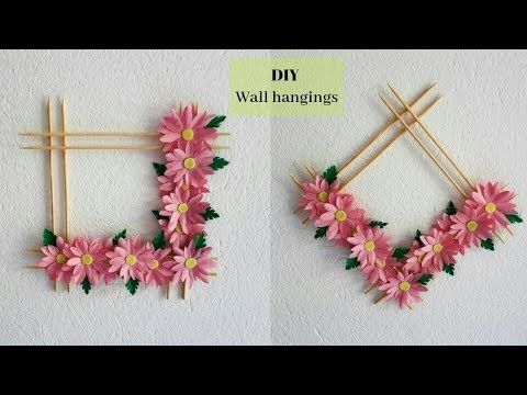 Diy Easy Paper Flower Wall Hanging Diy Room Decor Home Decorative Idea Youtube Paper Flower Wall Art Hanging Flower Wall Flower Diy Crafts